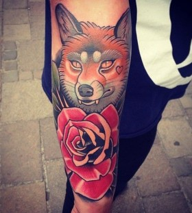 Fox and rose tattoo by Alex Dorfler