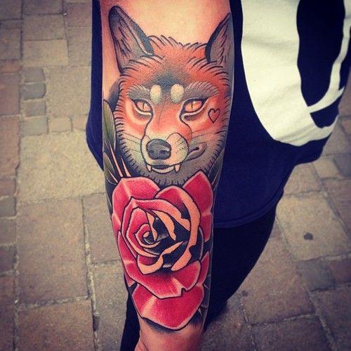 Fox and rose tattoo by Alex Dorfler