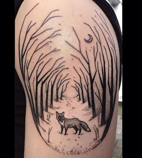 Fox and trees tattoo by Susanne König