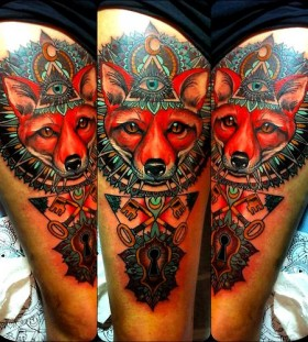 Fox illuminati tattoo by Flo Nuttall