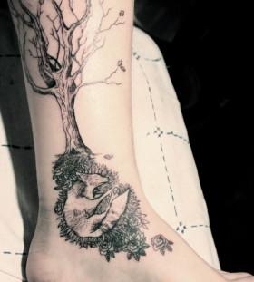 Fox under oak tattoo