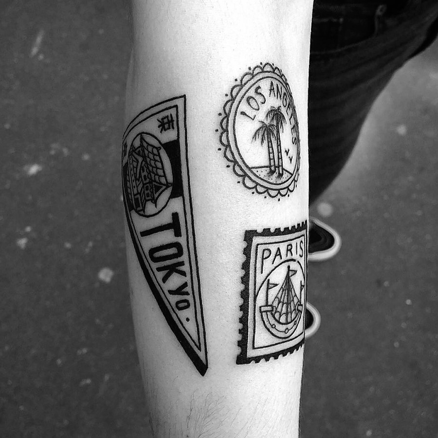 franck-pellegrino-bleunoir-travel-stamps-blackwork-tattoo