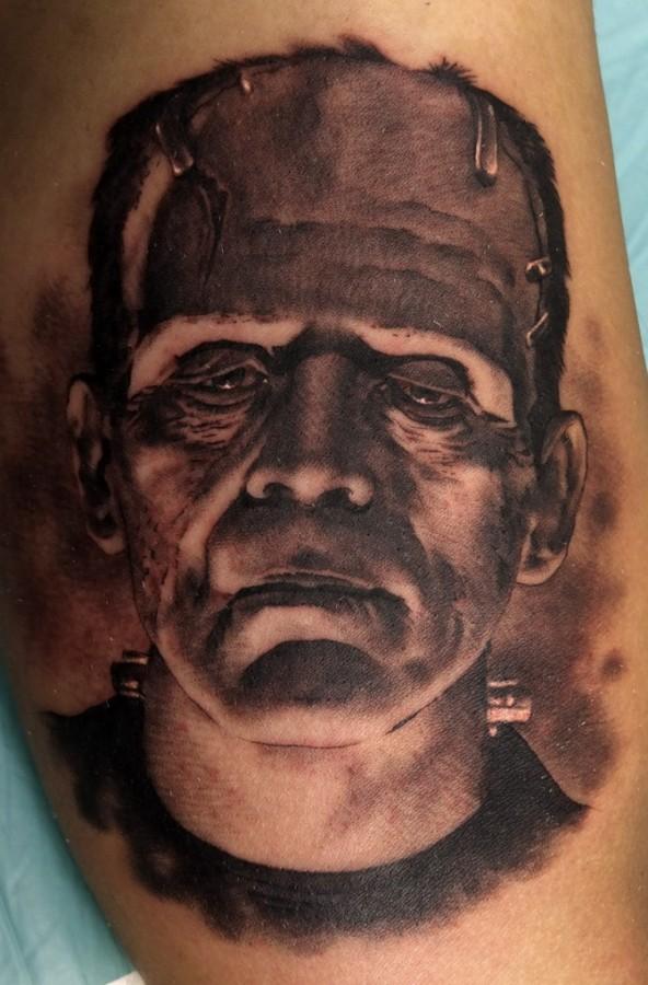 Frankenstein tattoo by Xavier Garcia Boix