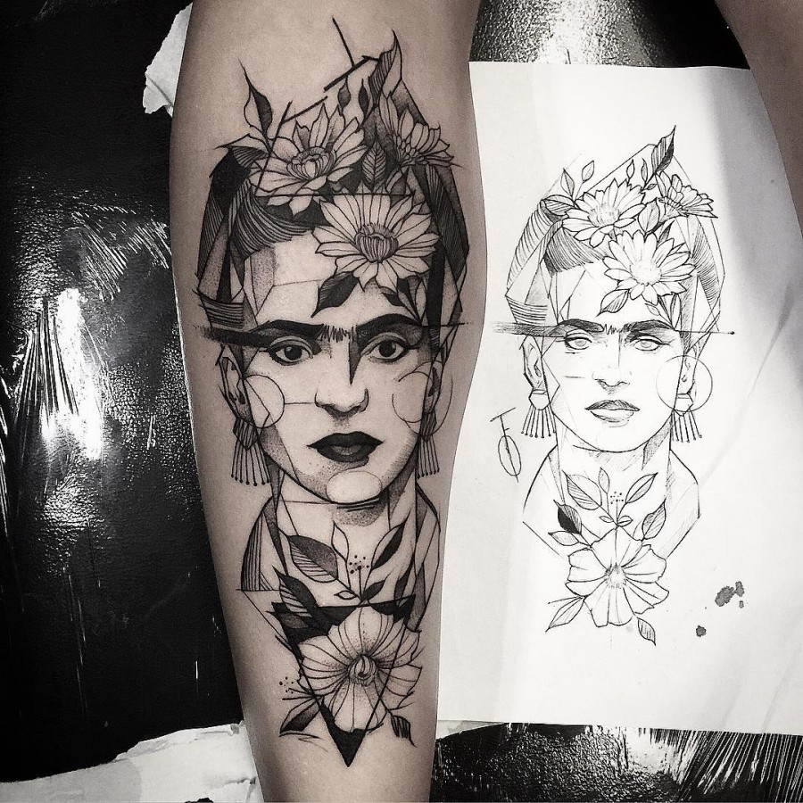 frida kahlo sketch style tattoo by fredao oliveira