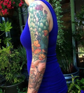 Full arm cactus tattoo