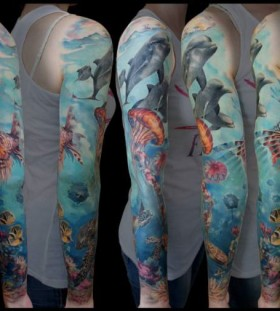 Full arm ocean tattoo