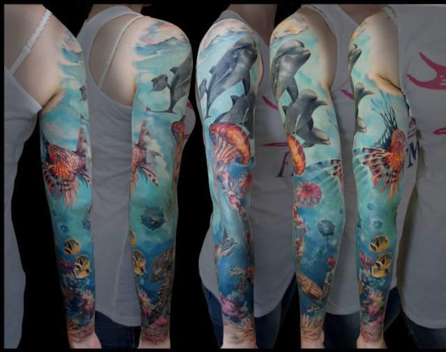 Full arm ocean tattoo