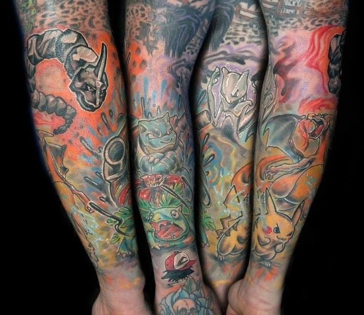 Full arm pokemon tattoo
