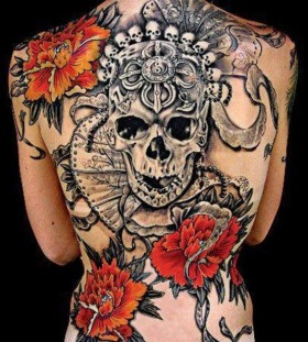Full back skull and flowers tattoo