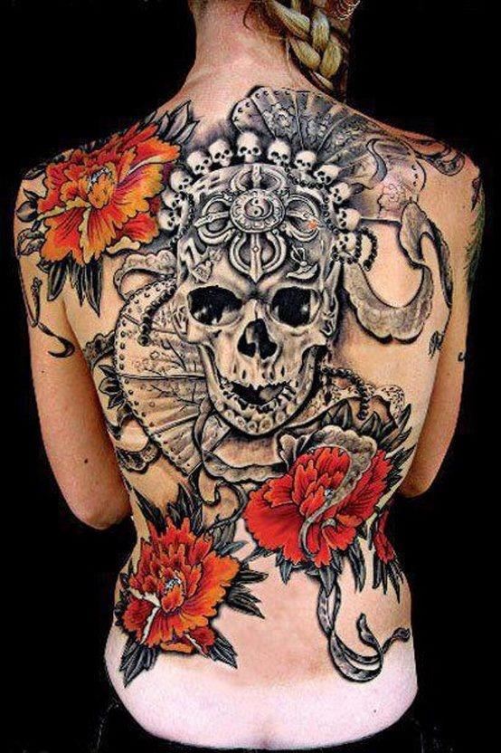 Full back skull and flowers tattoo