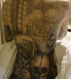 Full back tattoo by Benjamin Laukis