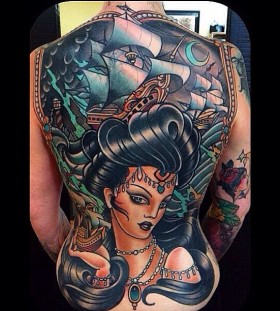 Full back tattoo by W. T. Norbert