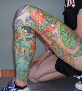 Full leg dragon ball tattoo