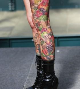 Full leg's food tattoo