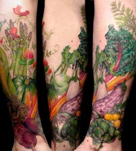 Full leg's vegetable's food tattoo
