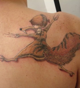 Funny Scrat back tattoo