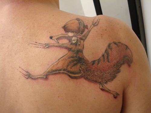Funny Scrat back tattoo