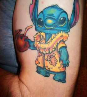 Funny Stitch arm tattoo