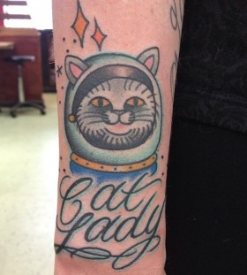 Funny cat tattoo by Clare Hampshire