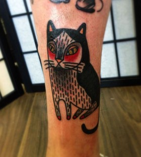 Funny cat tattoo by Matt Cooley