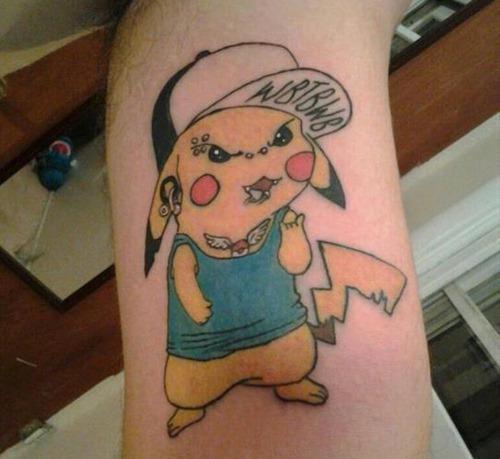 Funny pikachu arm tattoo
