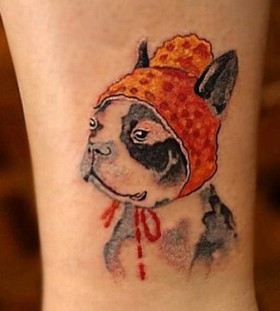 Funny puppy tattoo by Chen Jie
