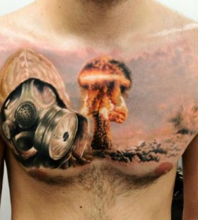 Gas mask and explosion chest tattoo
