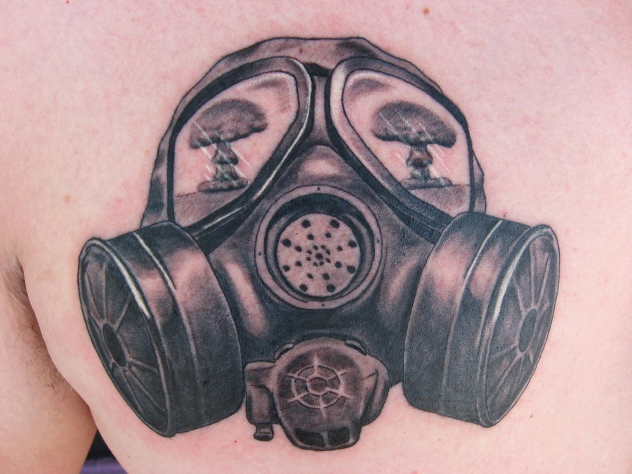Gas mask and explosion tattoo
