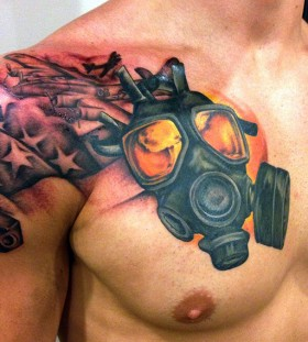 Gas mask and plane tattoo