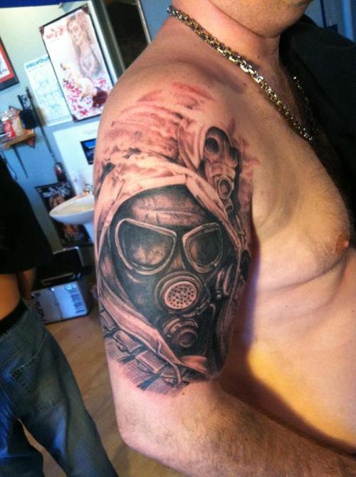 3c5a3379be0b2 Gas mask arm tattoo - | TattooMagz › Tattoo Designs / Ink Works ...