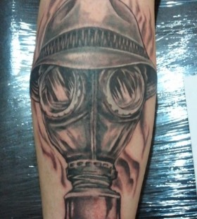Gas mask with hat tattoo