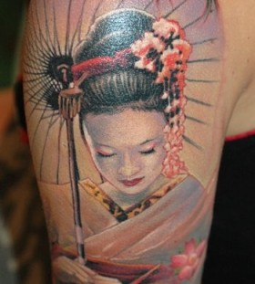 Geisha arm tattoo by James Tattooart