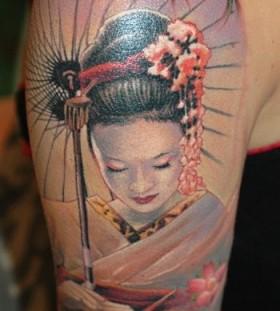Geisha arm tattoo by James Tattooart