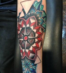 Geometric compass tattoo by Amanda Leadman