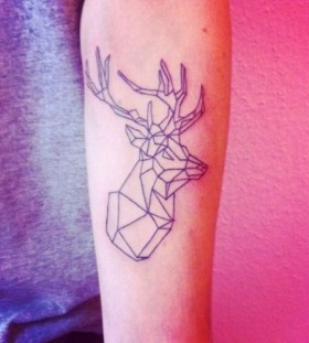 Geometric deer arm tattoo
