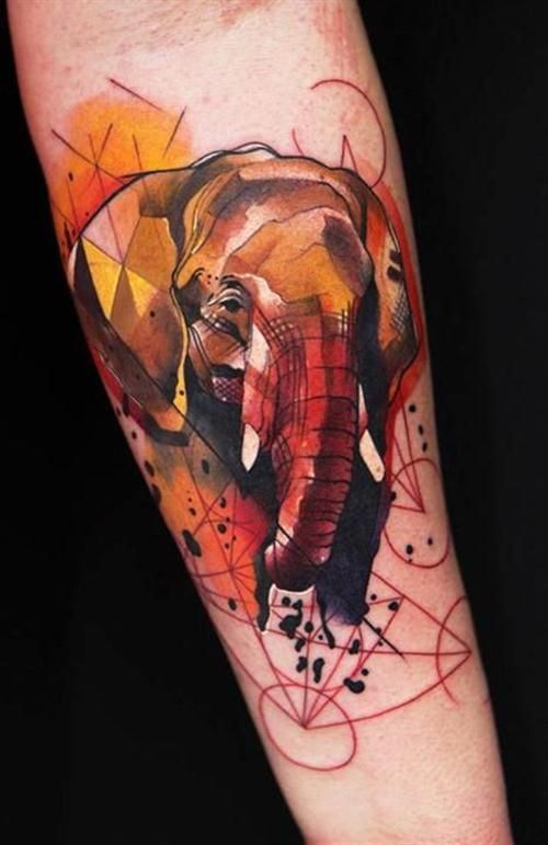 Geometric elephant watercolor tattoo