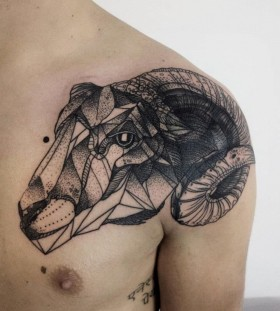 Geometric goat tattoo by Michele Zingales
