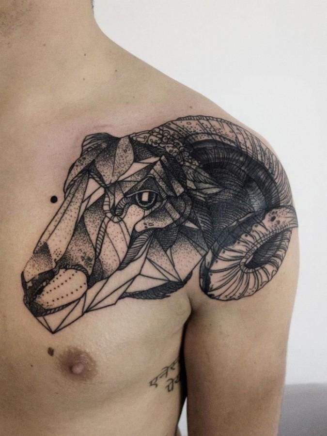 Geometric goat tattoo by Michele Zingales