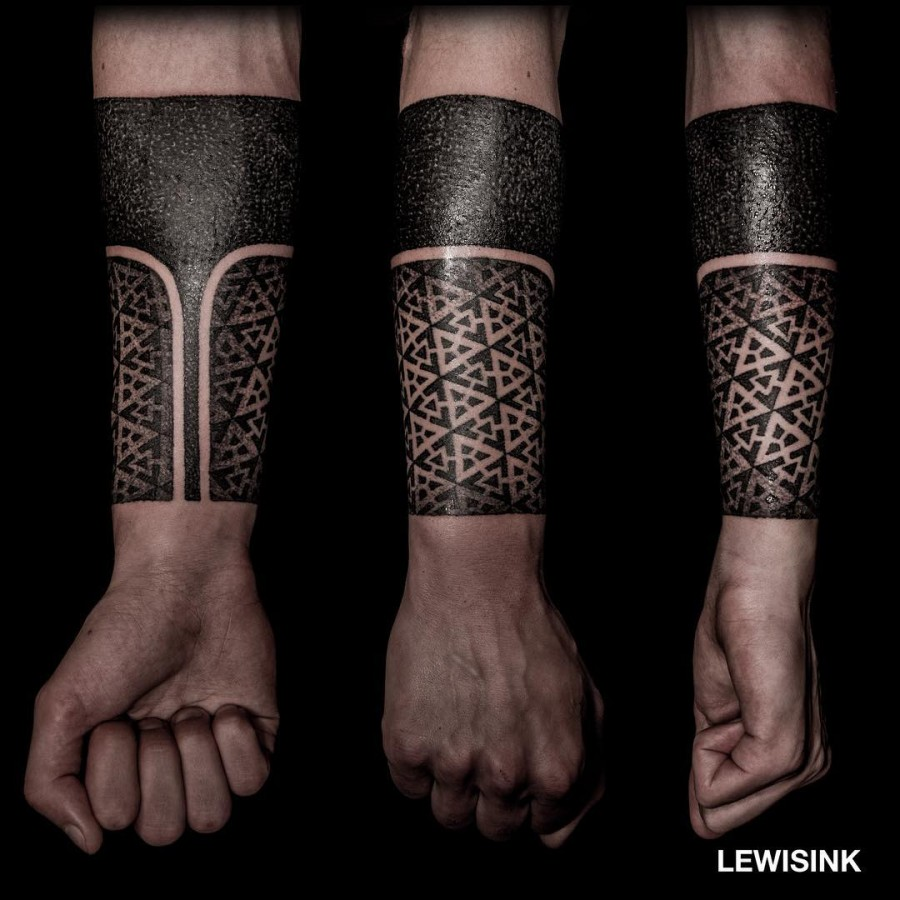 geometric half sleeve tattoo by lewisink