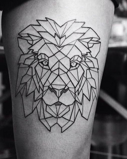 Geometric lion leg tattoo