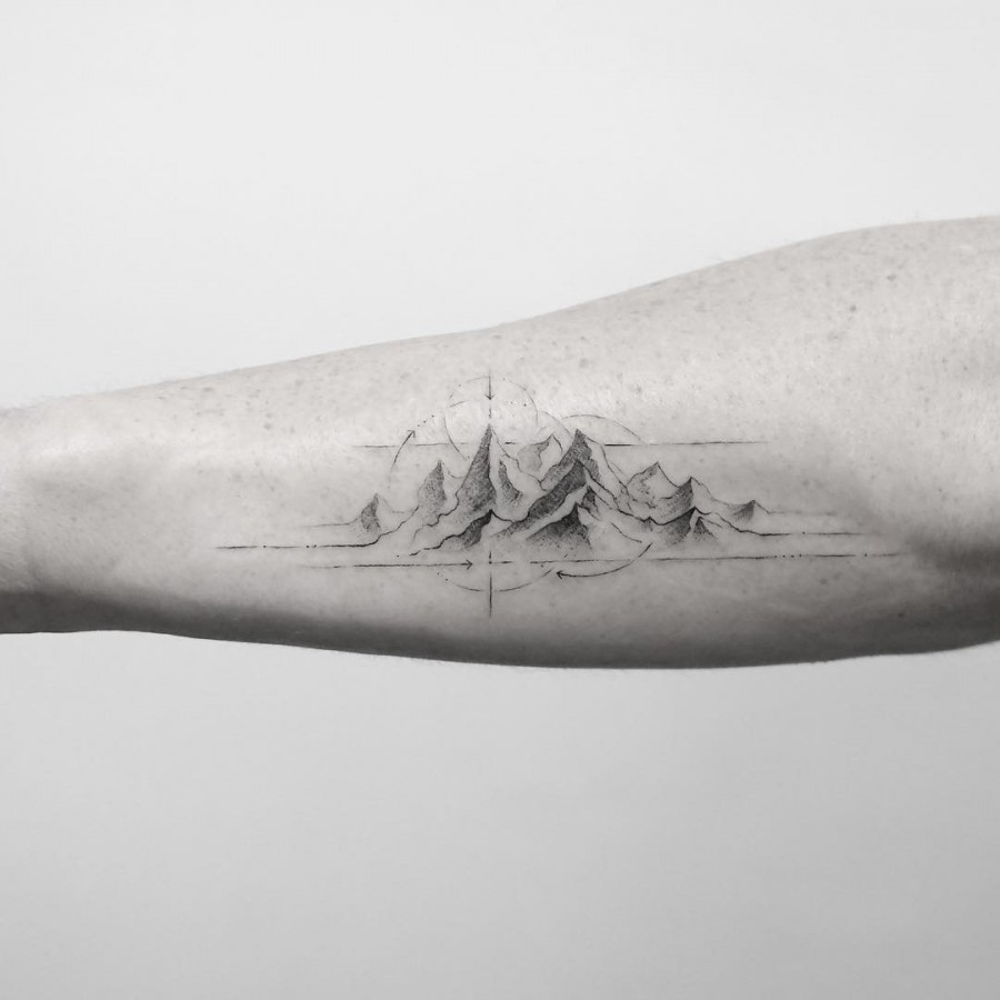 geometric mountains tattoo