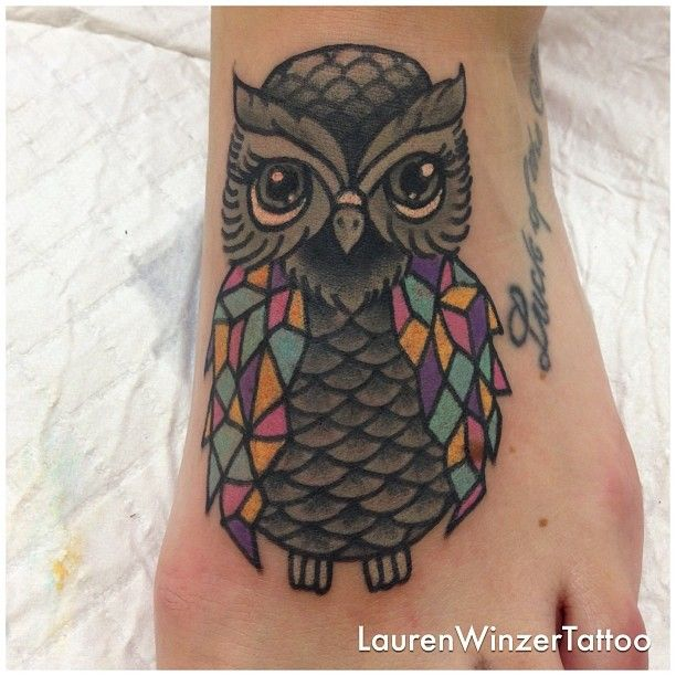 Geometric owl tattoo by lauren winzer