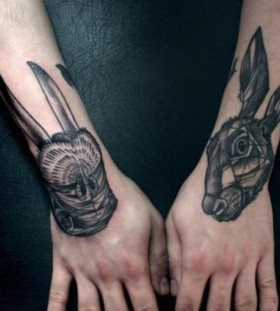 Geometric rabbits head tattoo