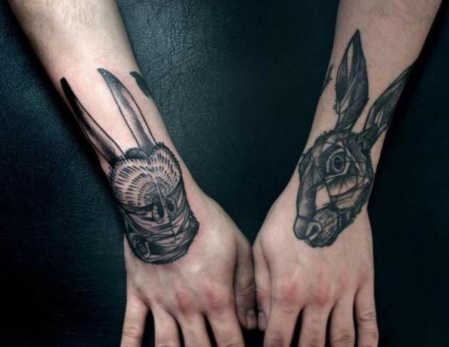 Geometric rabbits head tattoo