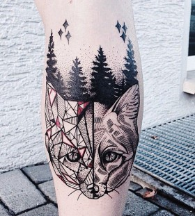 Geometrical fox and forest tattoo