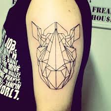 Geometrical rhino arm tattoo
