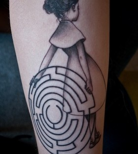 Girl and maze tattoo