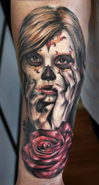 Girl and rose tattoo by Benjamin Laukis