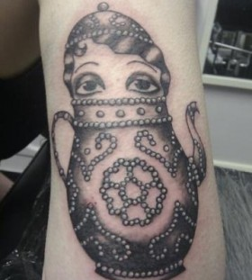 Girl in a teapot tattoo