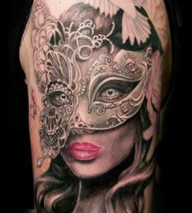 Girl with mask tattoo by Ellen Westholm
